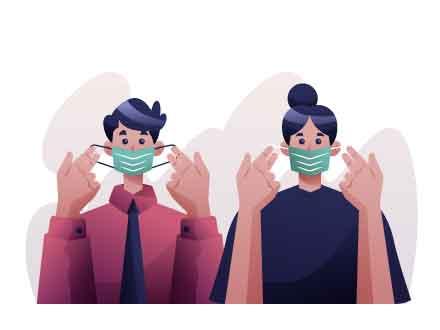 Wearing Mask Illustration