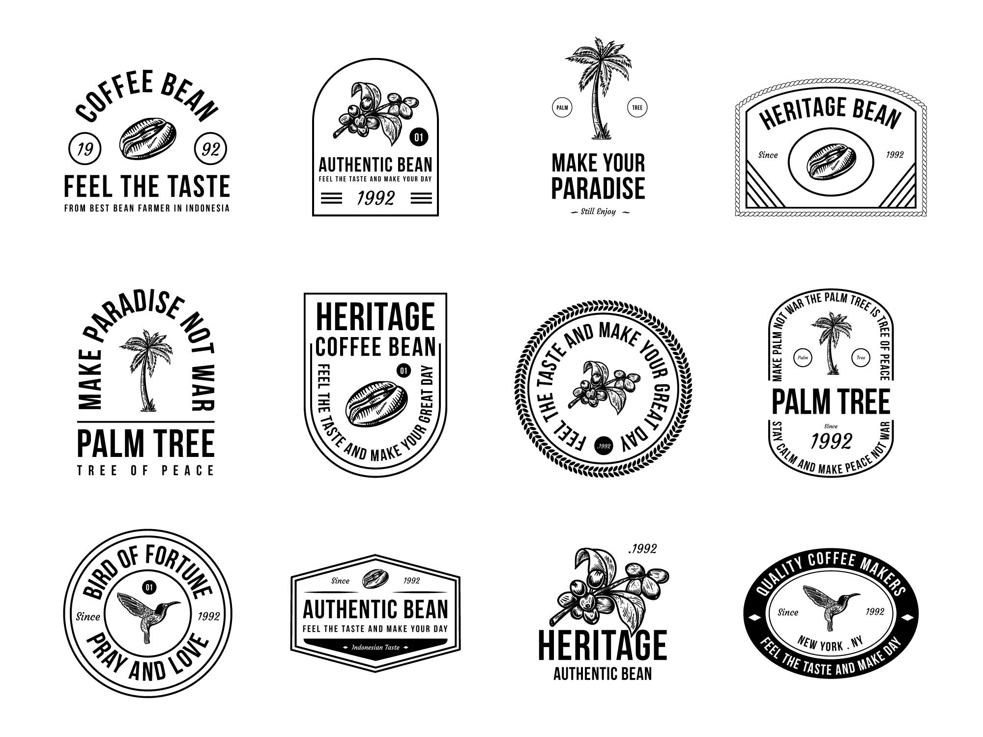 Coffee and Palm Tree Badges 2