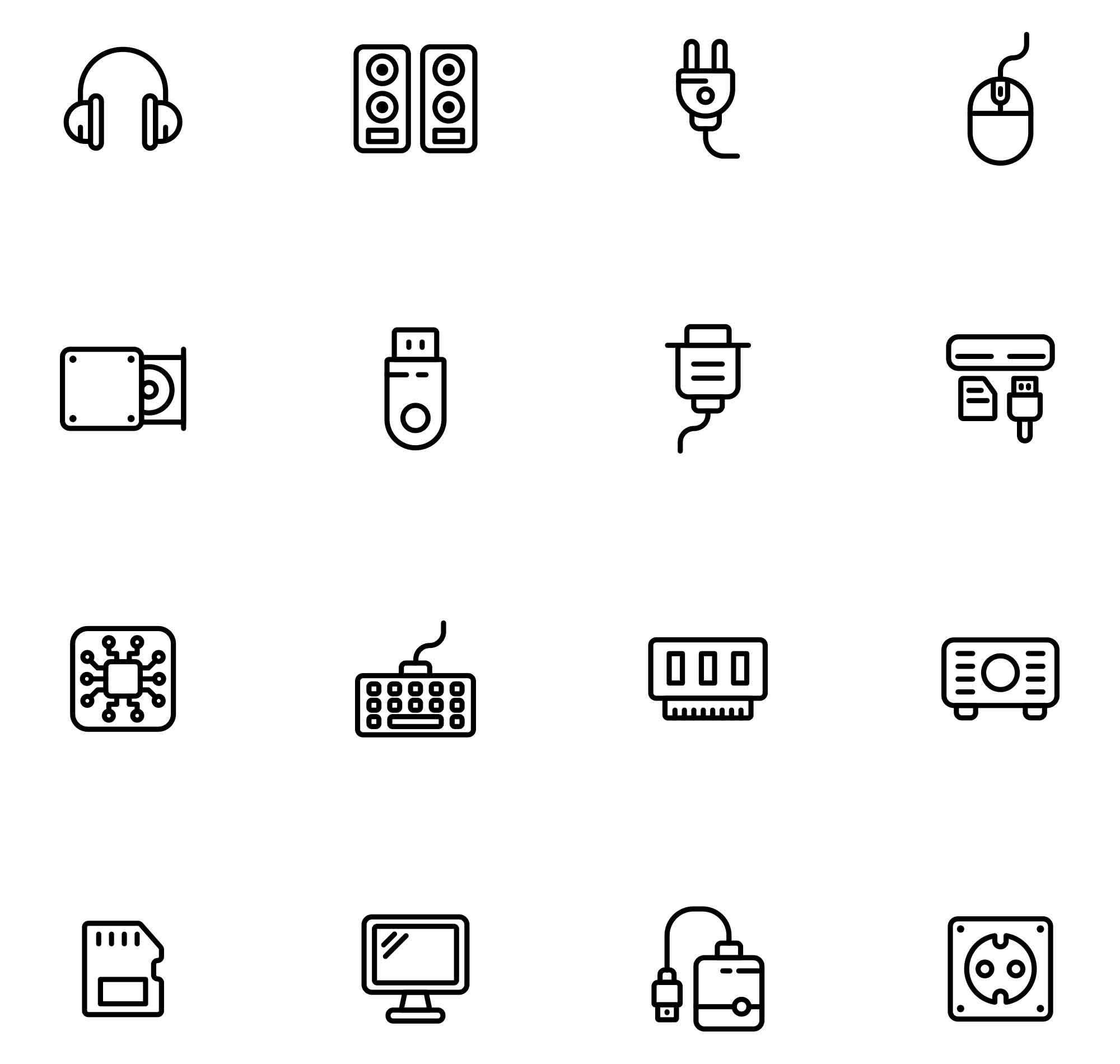 Computer Hardware Vector Icons