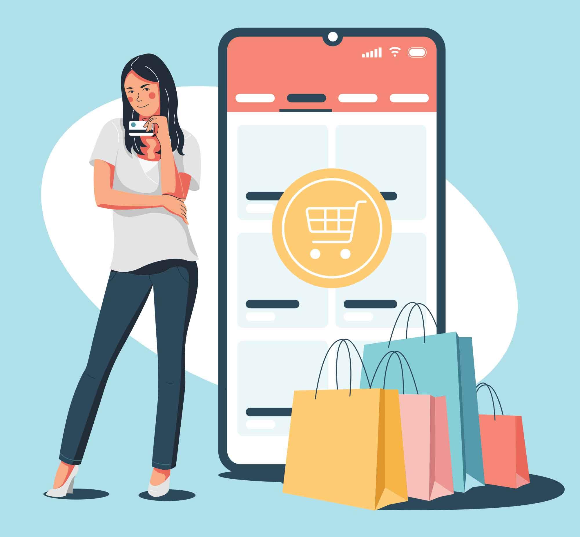 Customer Shopping Online Illustration