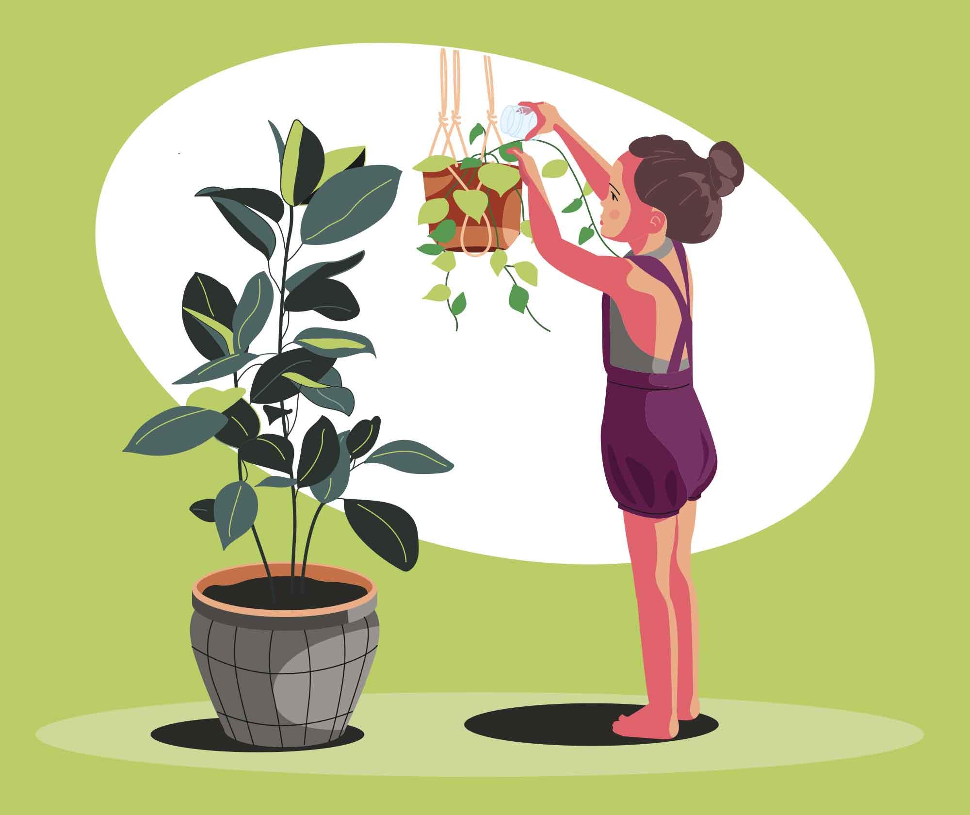 Girl Watering Indoor Plants Illustration