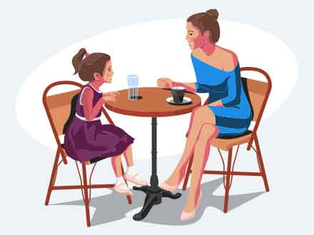 Mother and Daughter Illustration