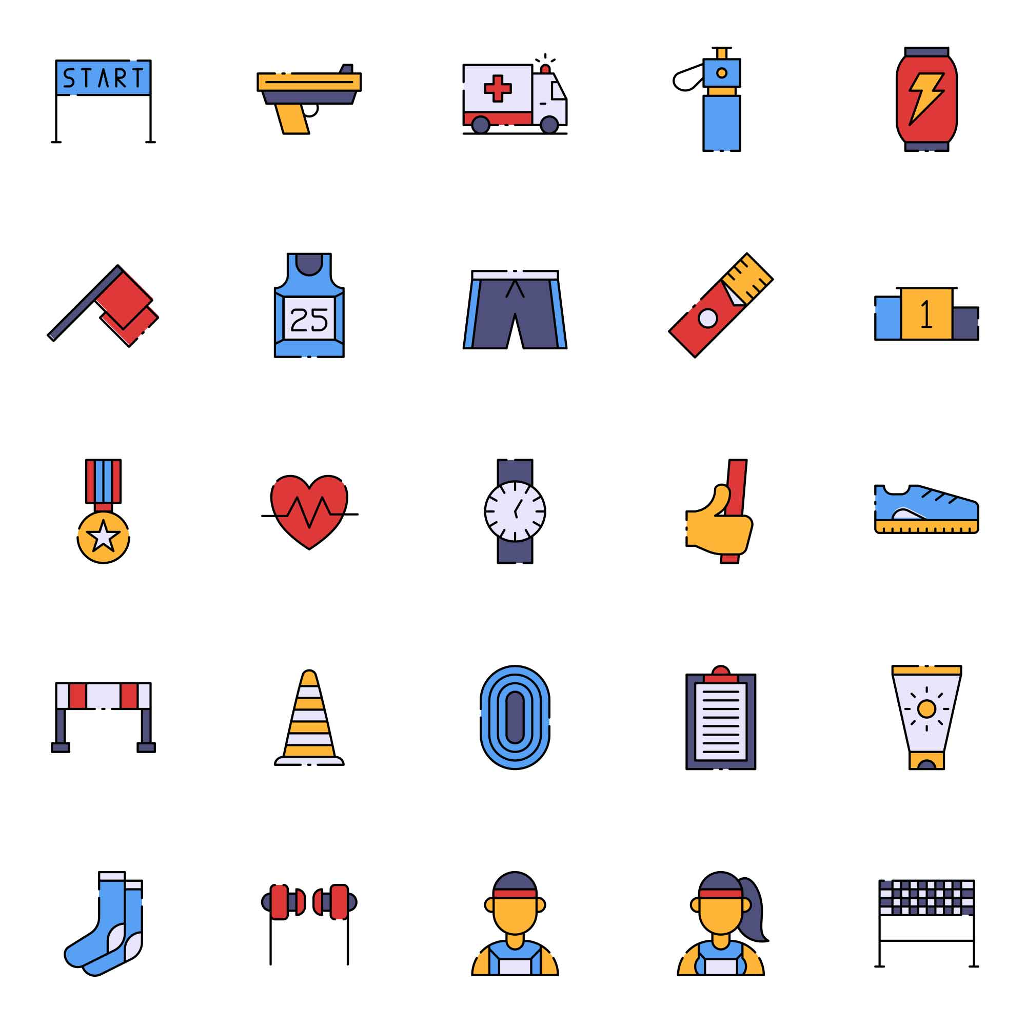 Running Vector Icons