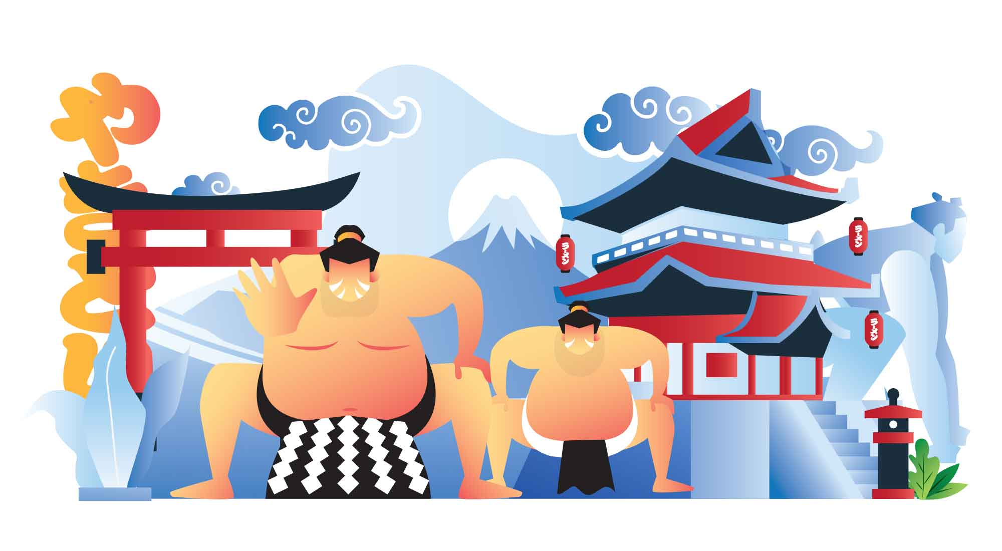 Sumo Wrestling Illustration