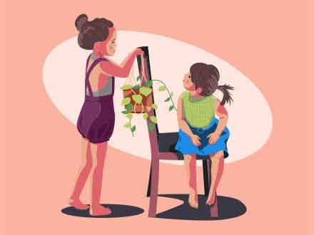 Two Young Girls at Play Illustration